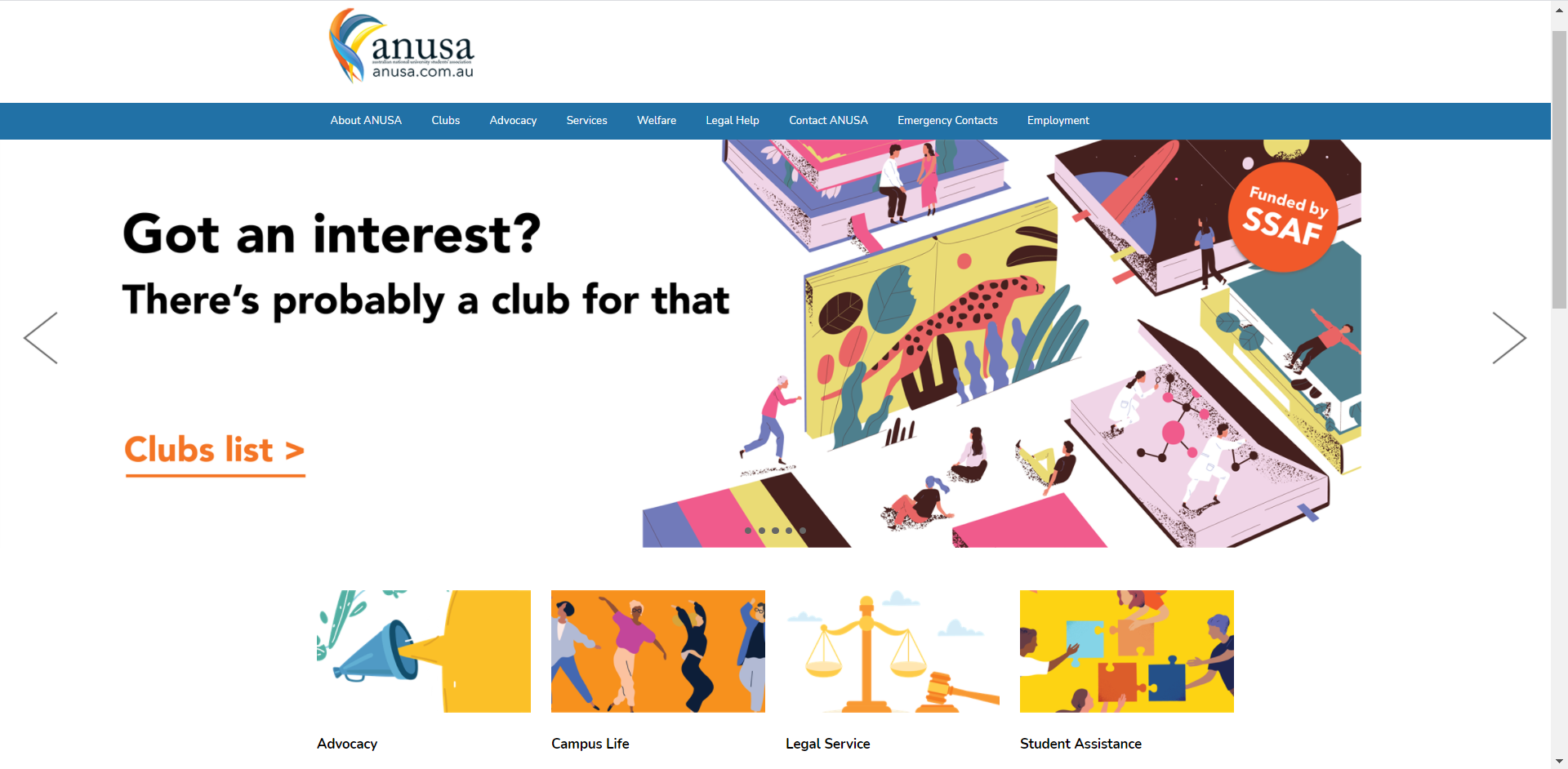 The clubs home page banner on the ANUSA website