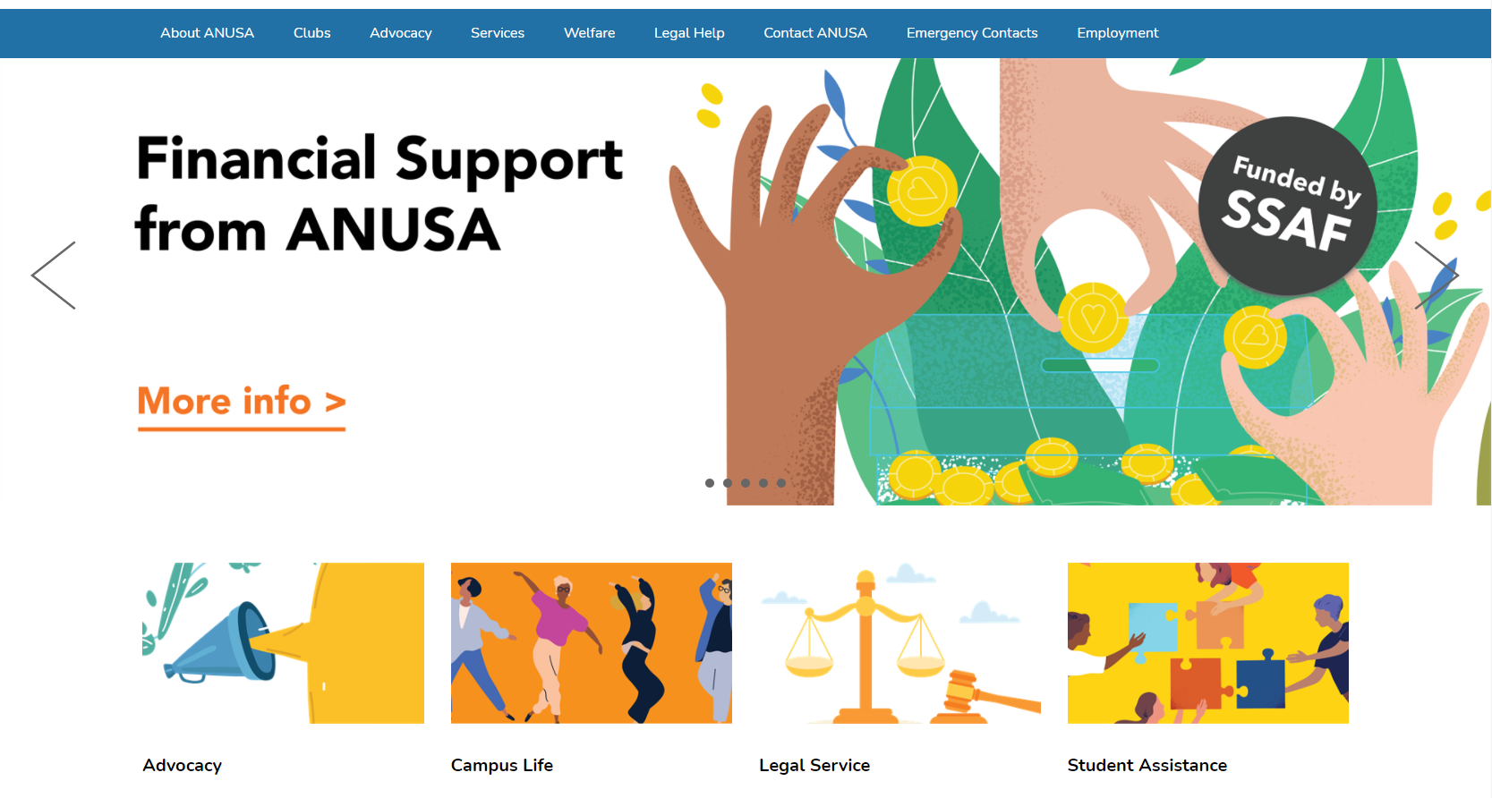 Financial support banner on the ANUSA website home page