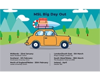 Cartoon image of car on a road trip with dates
