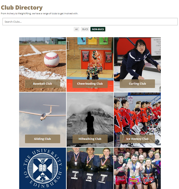 Edinburgh University Sports Union clubs page