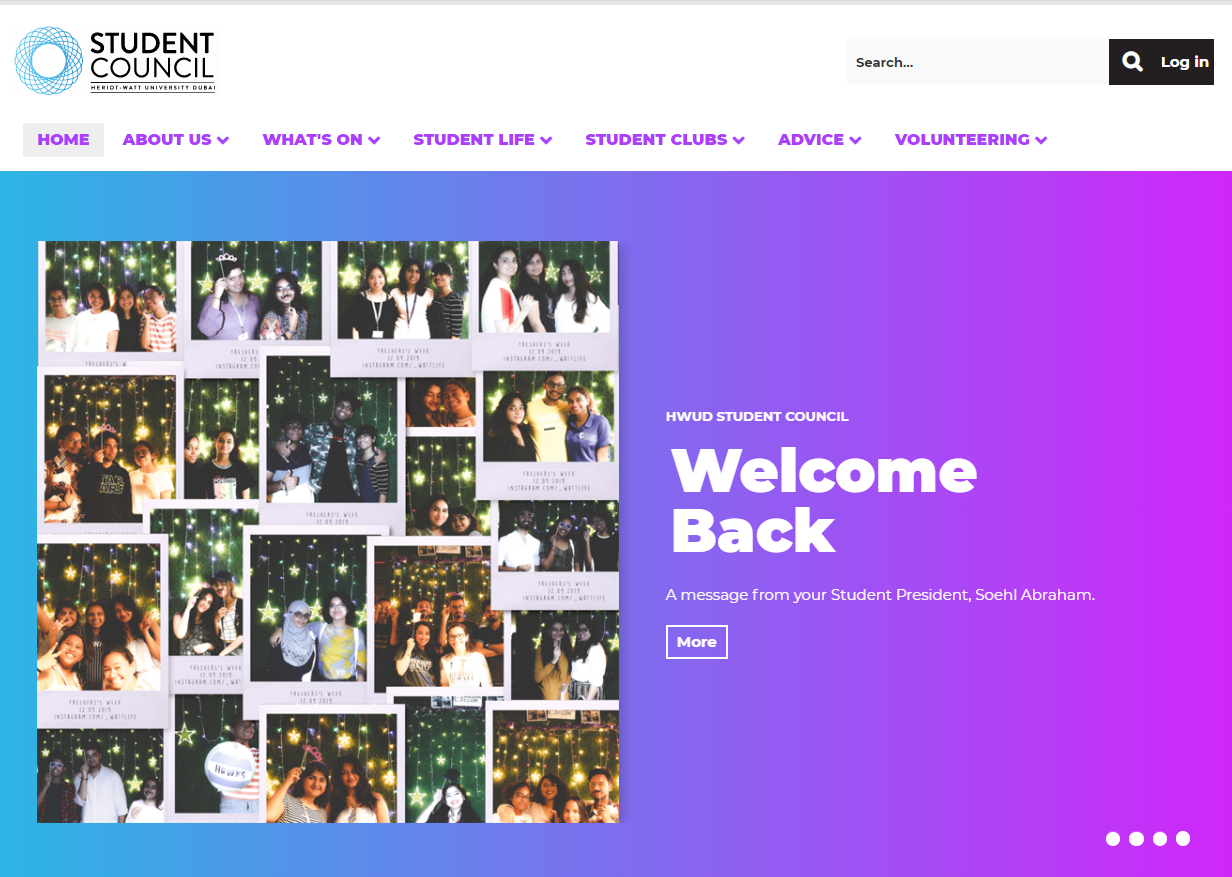 Student Council website home page banner welcome back banner