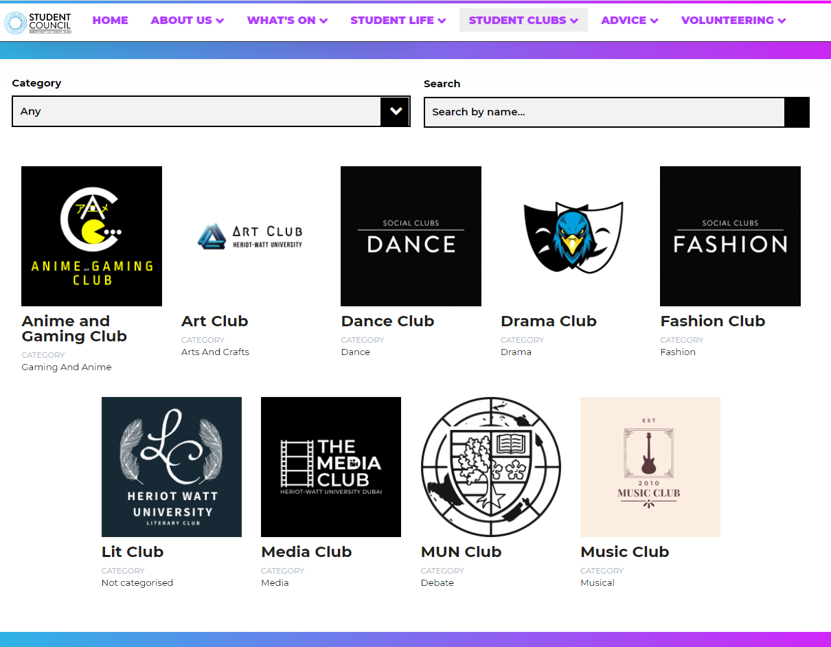 Student Council clubs page with search facility