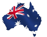 Image of Australia with flag